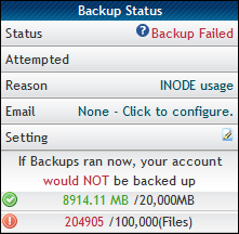 Hostgator Failed Backup
