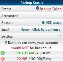 Hostgator Failed Backup