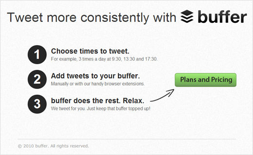The original Buffer landing page