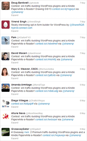 Good Twitter Activity During the Contest