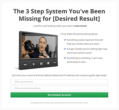 A simple but effective opt-in page. The example is based on the landing page for one of my own free products.