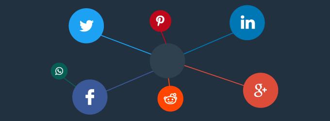Logos of social networks in a cluster (Twitter, Facebook, Reddit, Pinterest, Whatsapp, Linkedin, Google+)