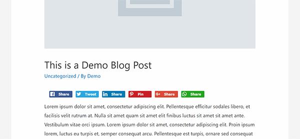 Screenshot showing Facebook, Twitter, Linkedin, Pinterest, Google+ and Whatsapp share buttons in a demo post