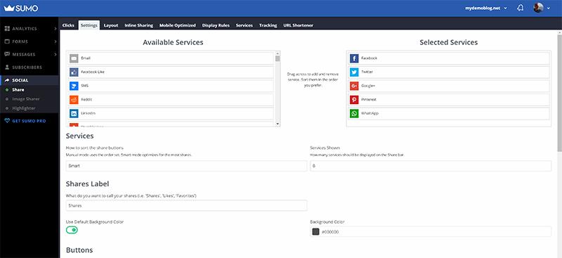 Screenshot of the Sumo dashboard, showing the social button settings.