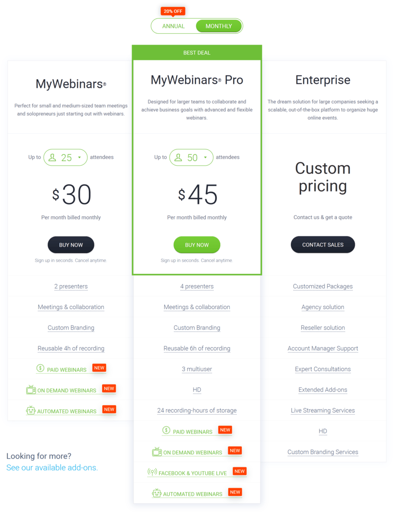 ClickMeeting monthly pricing plans