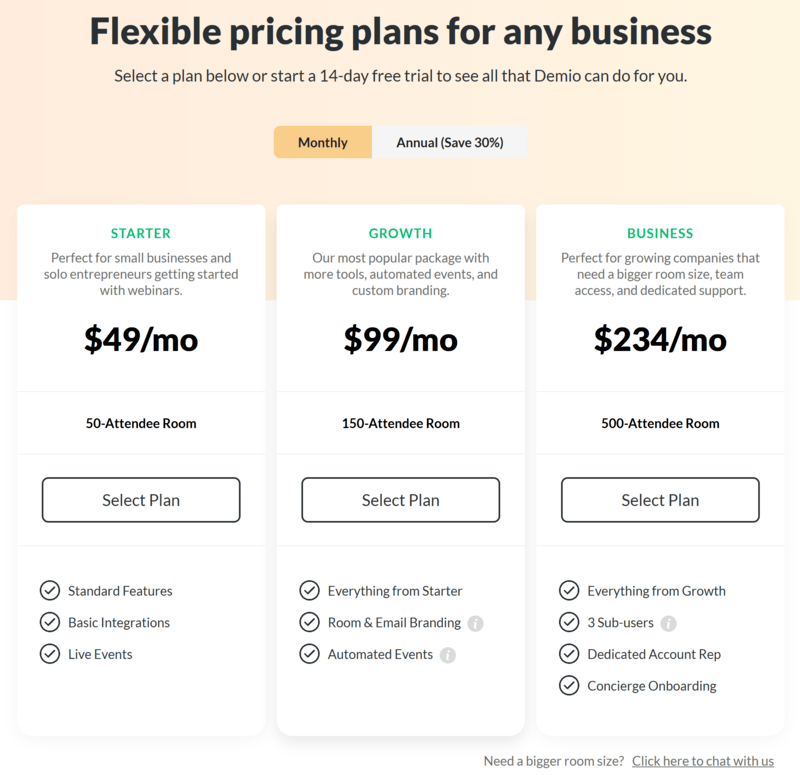 Demio pricing plans from 06.2019