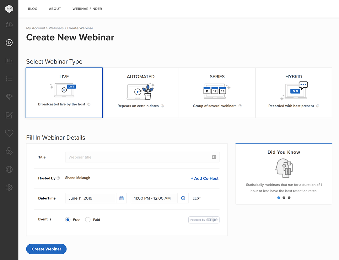 Dashboard for creating new webinars