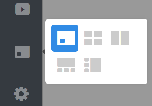 Sidebar interface for switching between different layouts