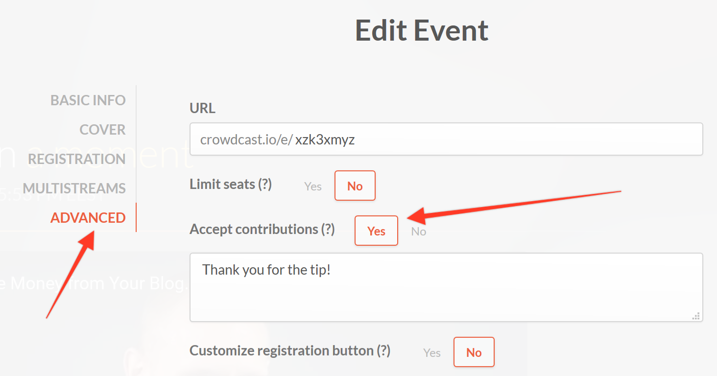Allowing contributions in Crowdcast, found in the advanced settings