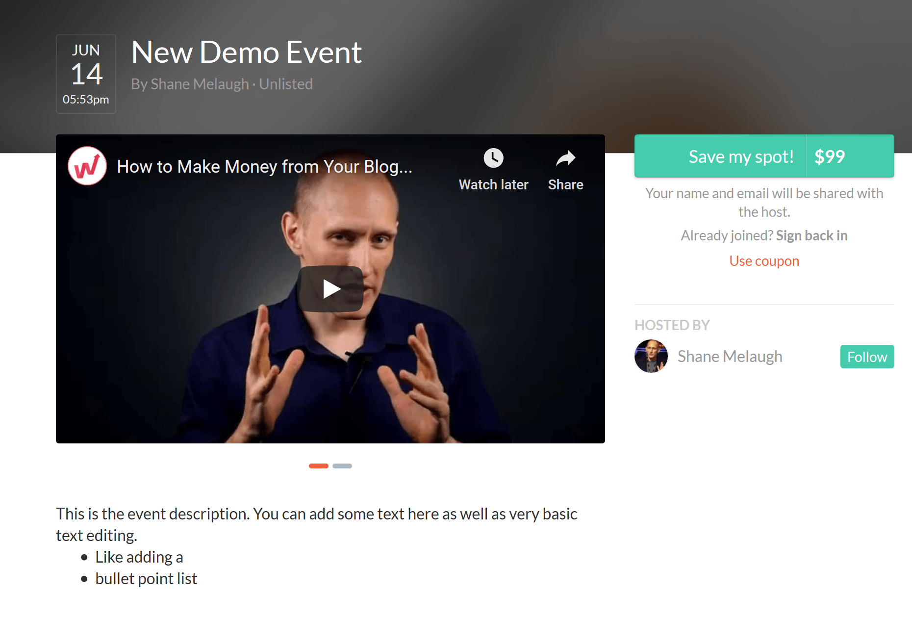 Crowdcast registration page with video