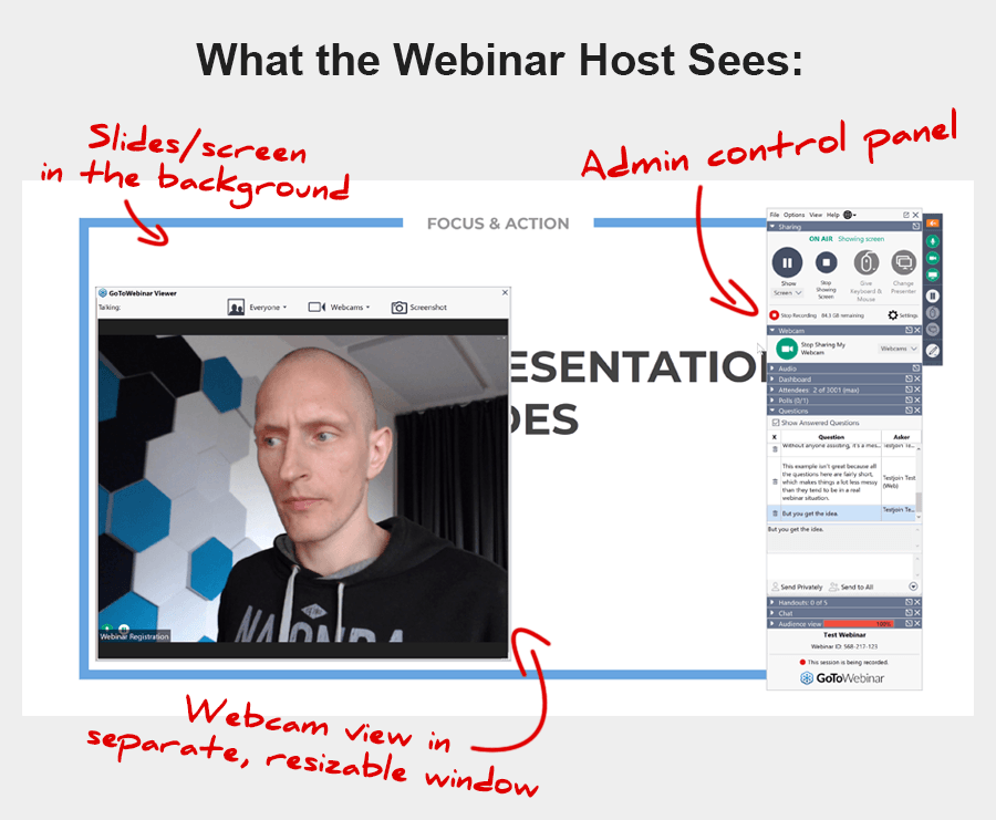What you see as the webinar host, when sharing screen and webcam at the same time