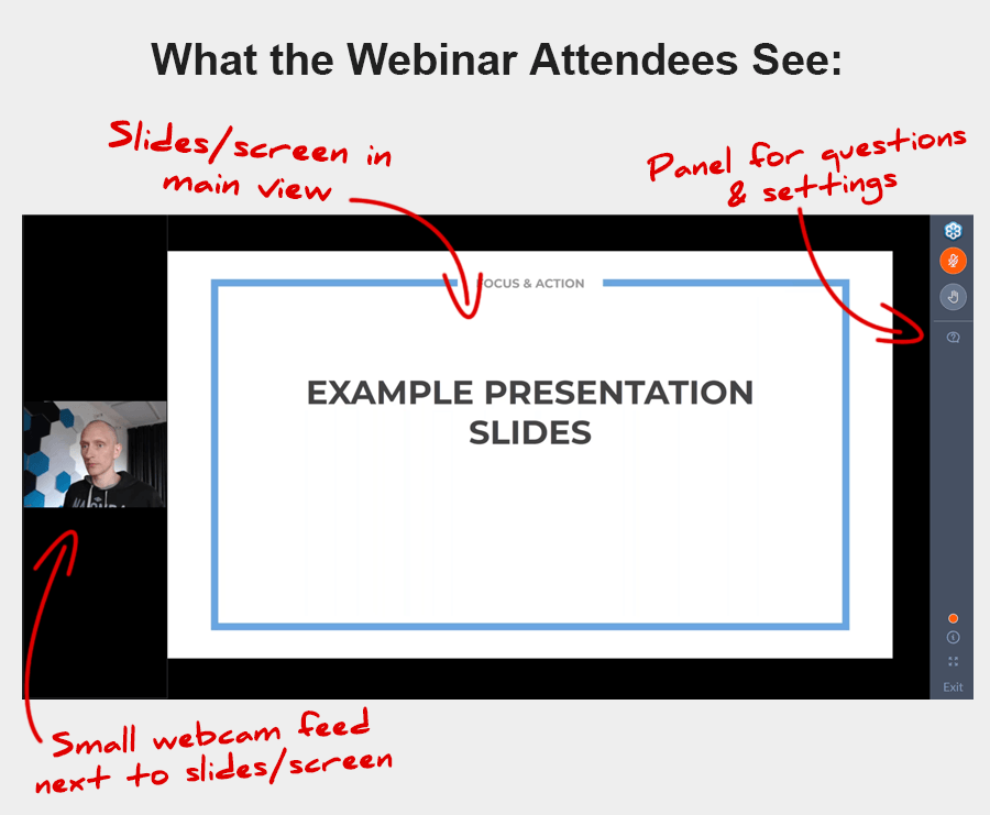 What GoToWebinar attendees see, when you share webcam and screen