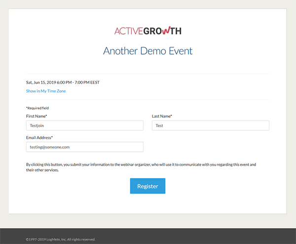 The registration page in GoToWebinar