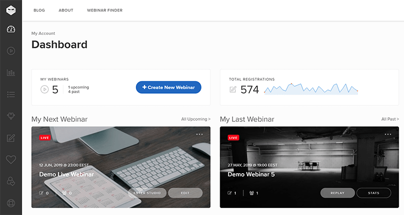 Webinar Ninja main dashboard