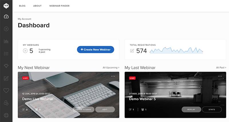Webinar Ninja main dashboard