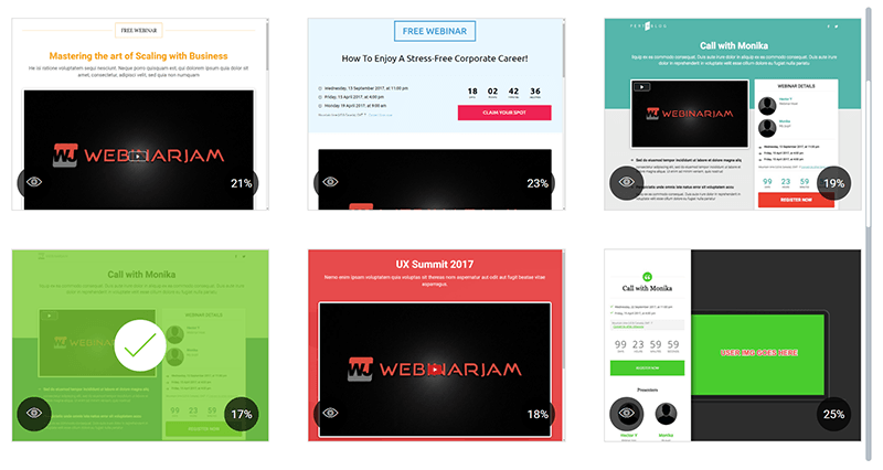 Example from the WebinarJam template selection screen
