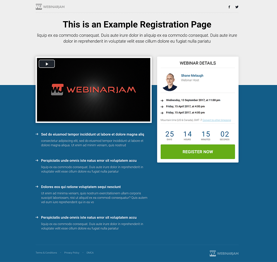 Example of a registration page with video and bullet points list