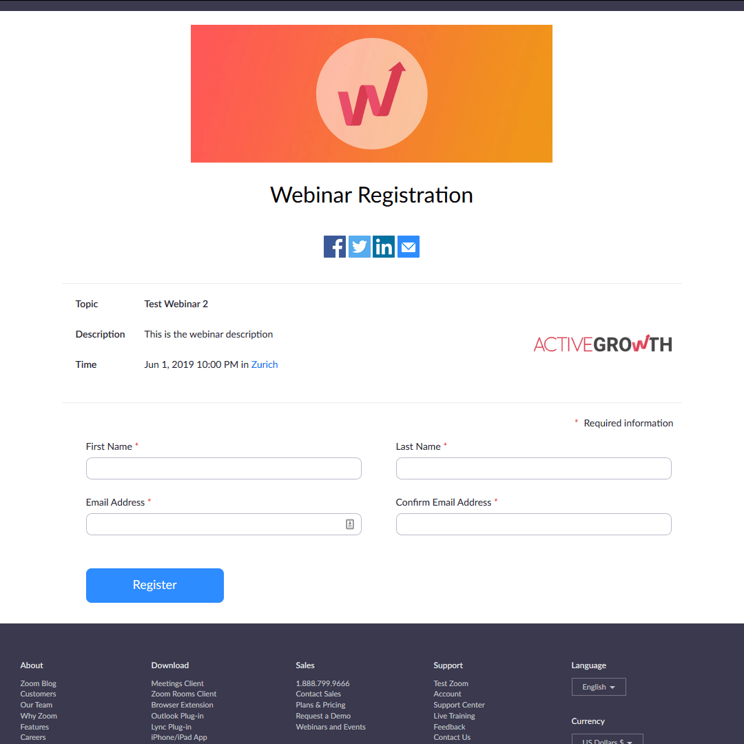 A very simple (and unattractive) registration page