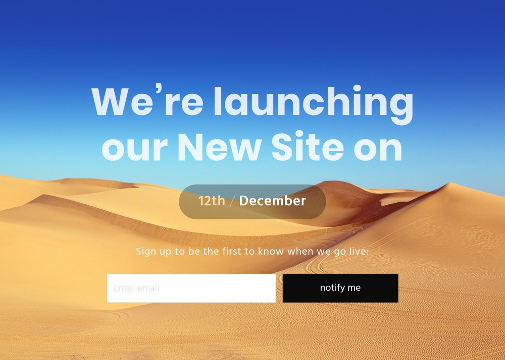 Coming soon page template example
