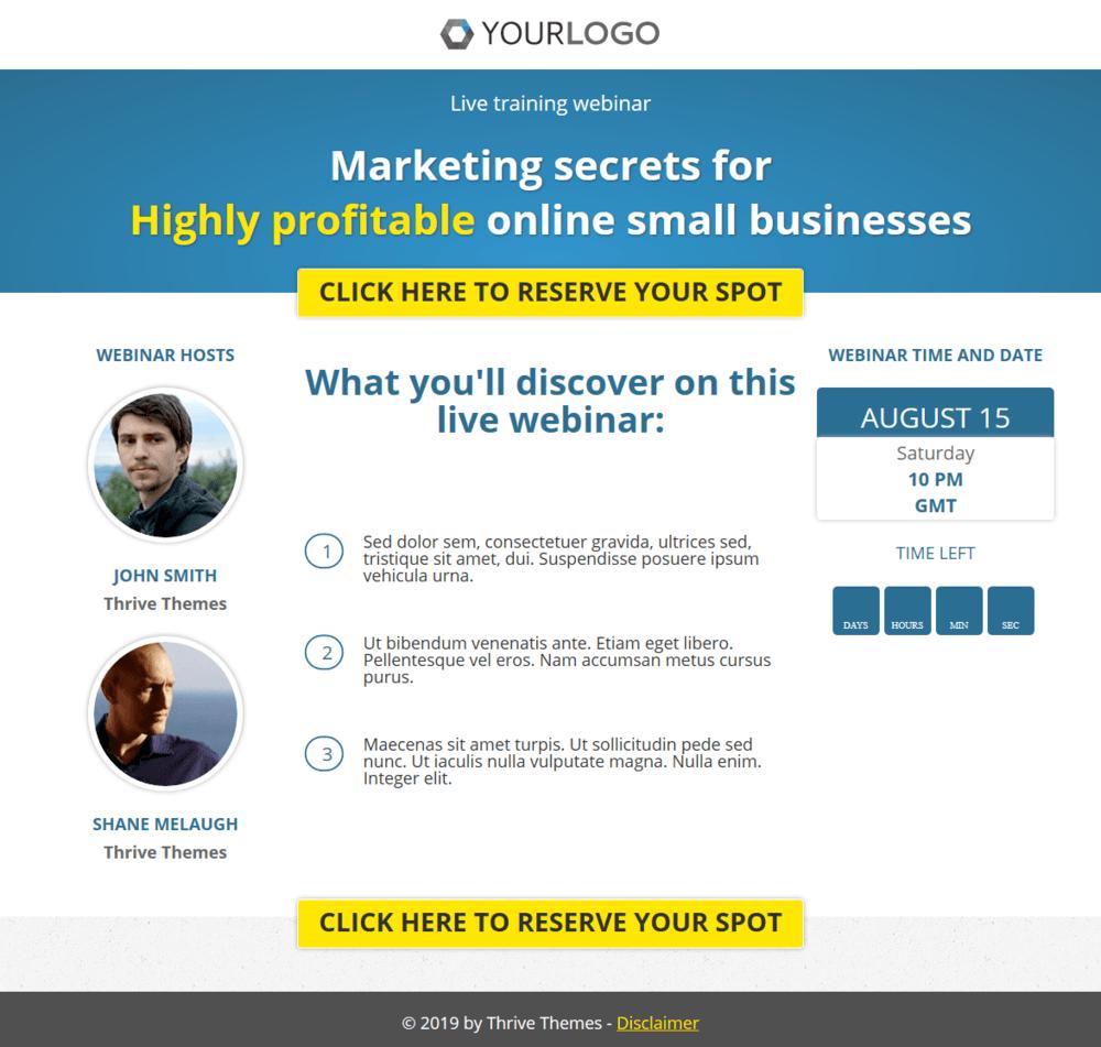 Webinar registration page