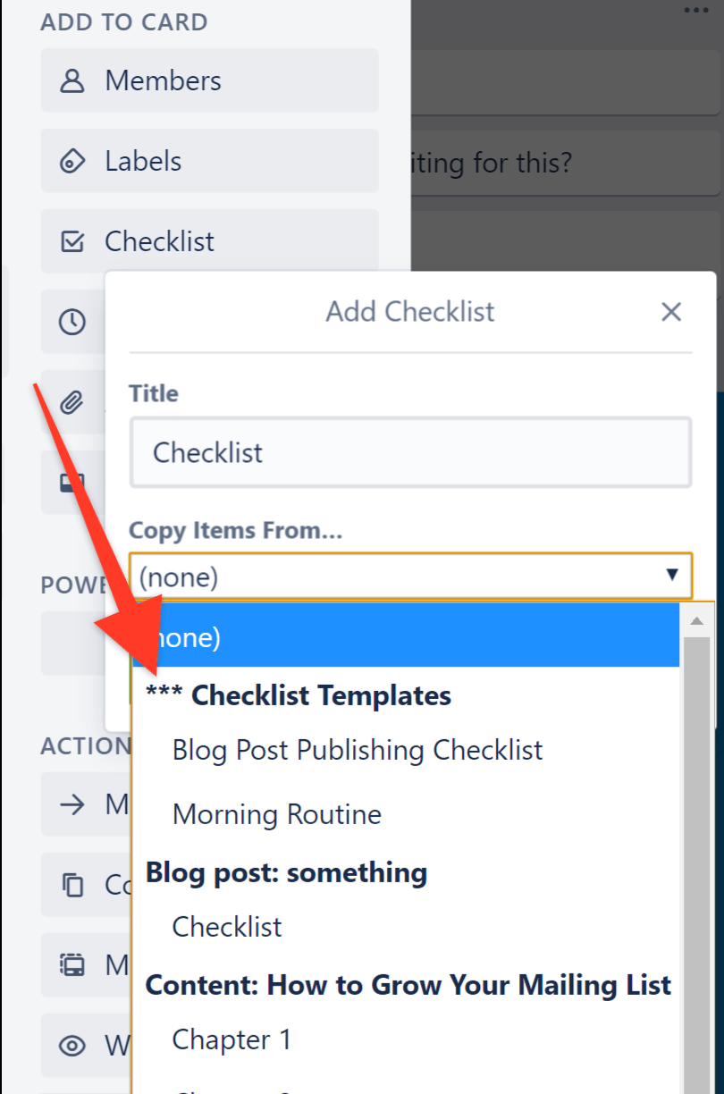 when adding a new checklist, you can choose to manually copy an existing one