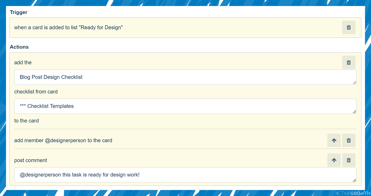 Automatically apply a checklist and assign the designer
