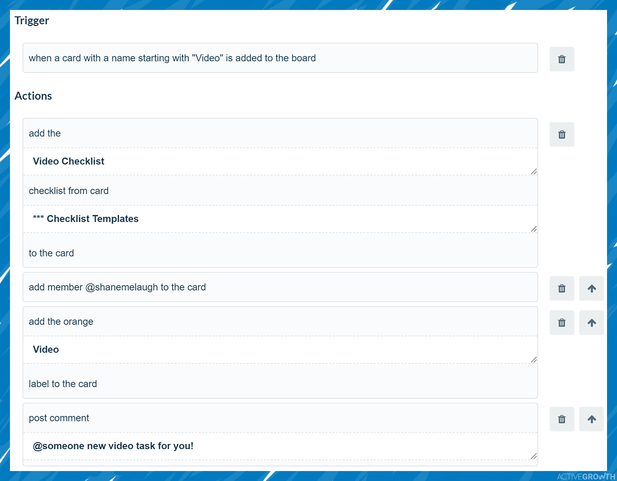 Add a whole series of automated steps based on a word in the card title